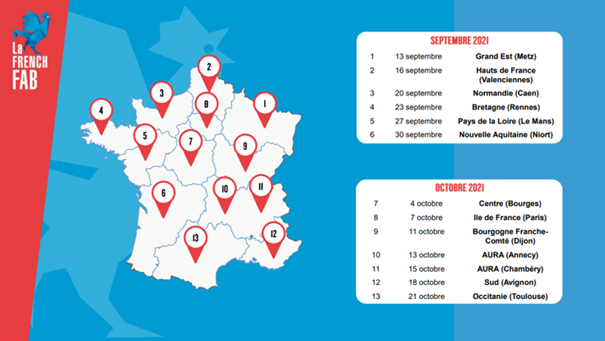 Calendrier des rendez-vous du French Fab Tour